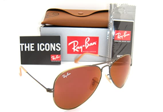 15f1db7976d Authentic Ray-Ban Aviator RB 3025 167 2K Demiglos Brushed Bronze Red Mirror