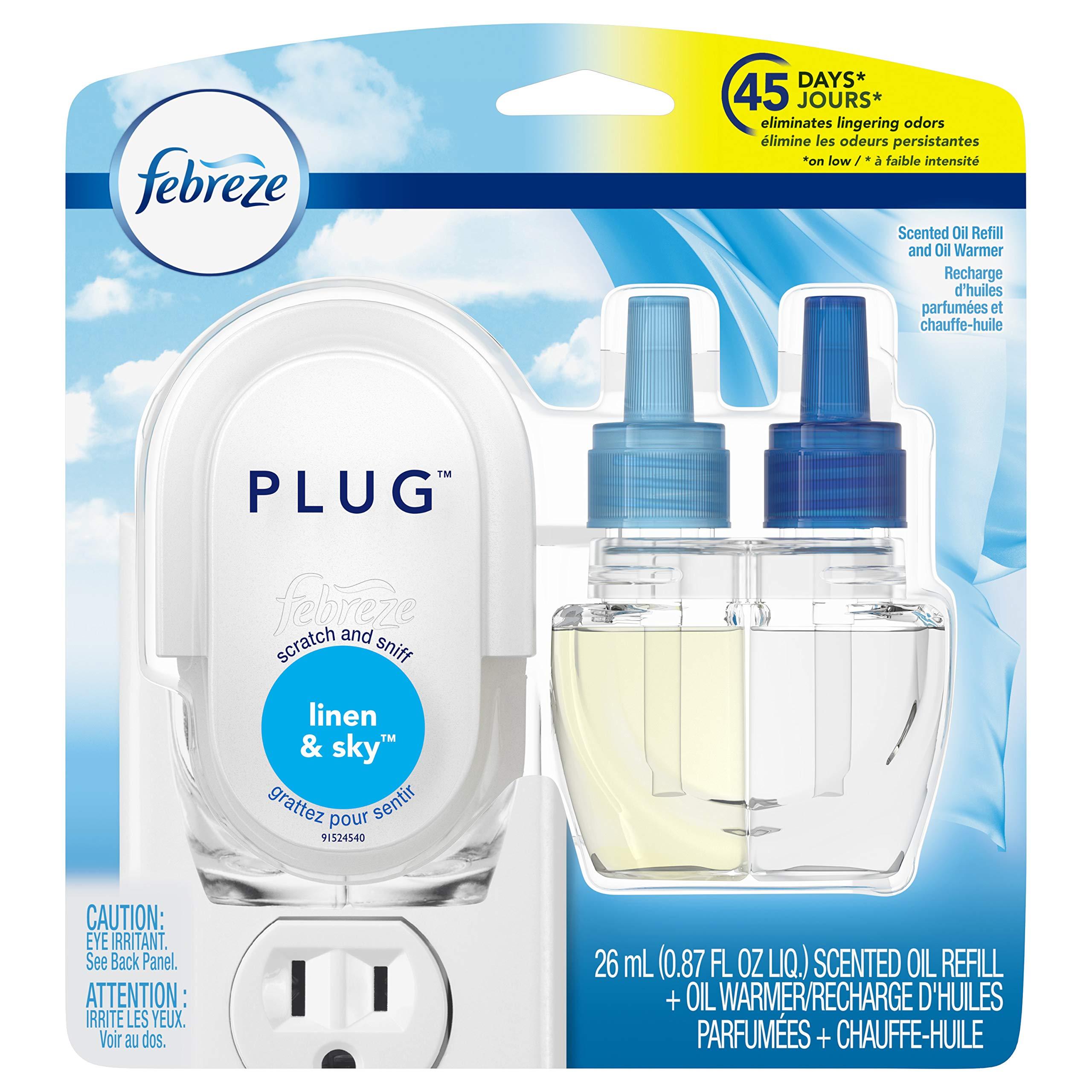 Febreze Air Freshener, Noticeables Air Freshener, Linen & Sky Starter Kit Air Freshener (1 Count, 0.87 oz)