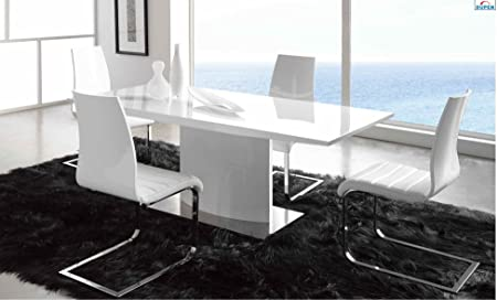 esf maria high gloss white lacquer dining set contemporary design rh amazon co uk