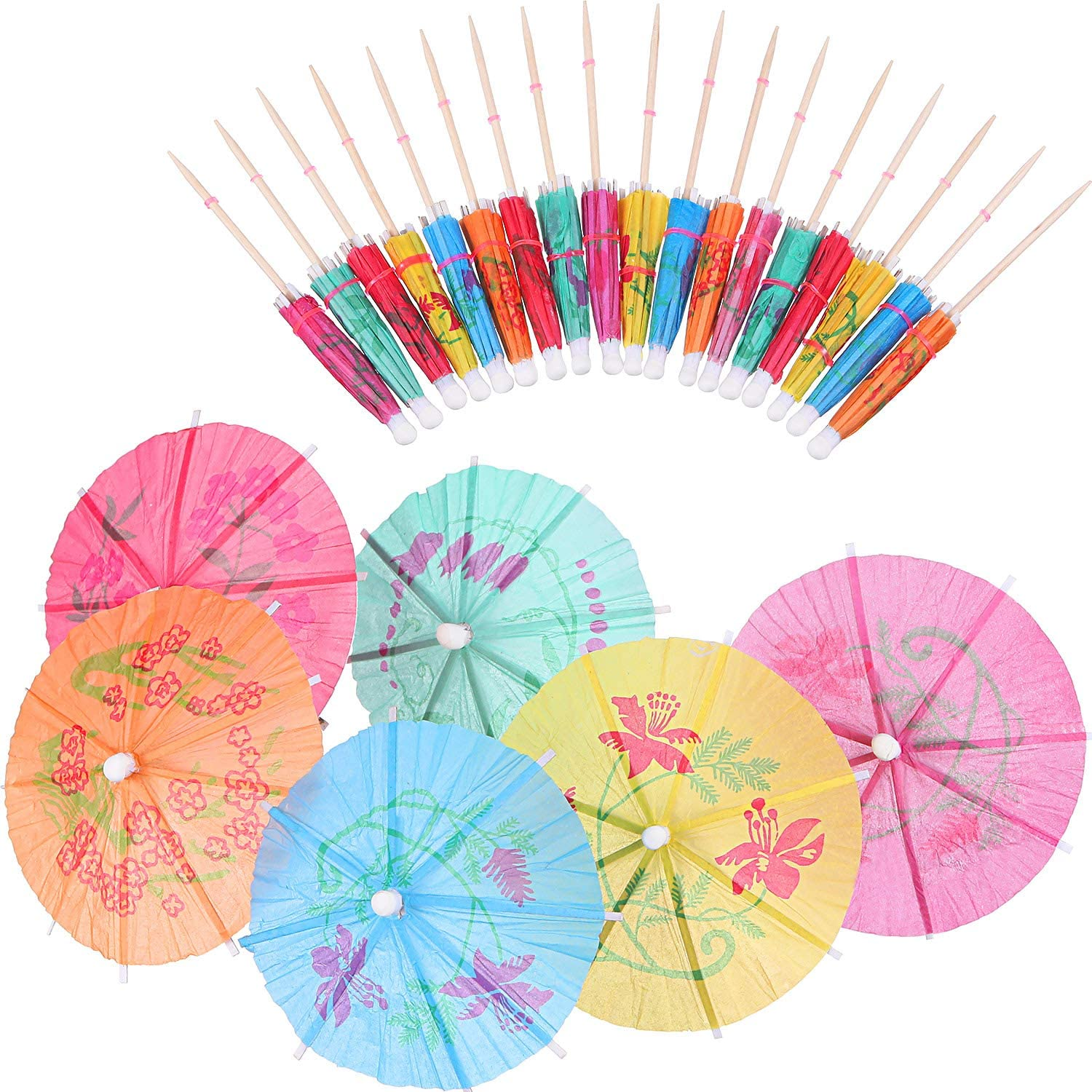 Boao 288 Pieces Cocktail Umbrella Picks Drink Picks Cocktail Parasols Assorted Umbrella Parasol Paper Cupcake Toppers for Party Favours Party Supplies