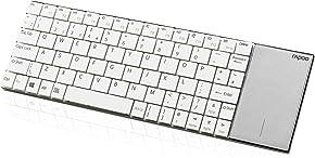 Rapoo E2710 ultraschlanke kabellose Edelstahl Tastatur mit Touchpad (2,4 GHz Wireless, Nur 5,6 mm dünn, Nano-USB, Multimedia, für Smart TV/Media PC, QWERTZ Deutsches Layout) weiß