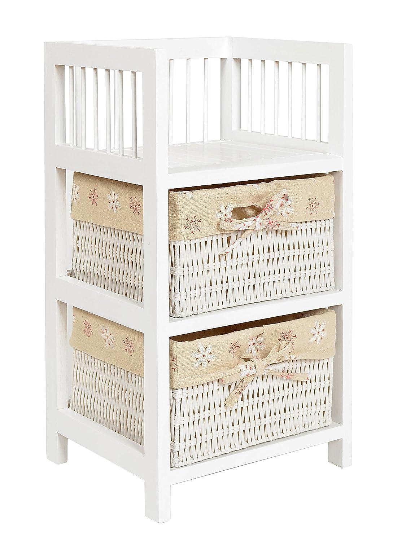 ts-ideen Mobiletto Comodino stile Country 56x30 cm Bianco in legno di pino con 2 cestini 7389