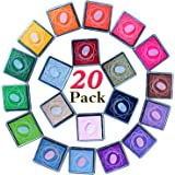ZesGood 20 Colours Non-Toxic Ink Pads for Rubbers Stamps DIY Craft Finger Stamp (Total 2 Floors in the Package)