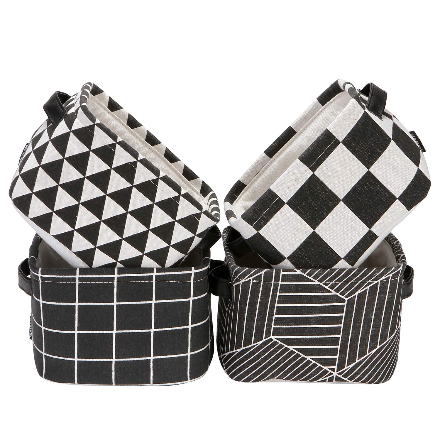 Sea Team Foldable Mini Square New Black and White Geometric Theme 100% Natural Linen & Cotton Fabric Storage Bins Storage Baskets Organizers for Shelves & Desks - Set of 4 (Black)