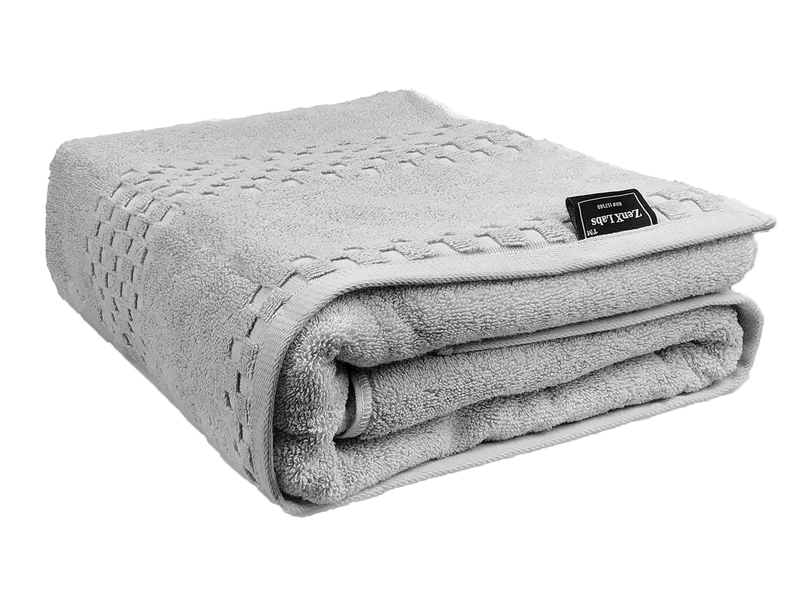 PackALL ZenXLabs Over 1000 GSM 100% Turkish Cotton Bath Sheets Towels Set Gray (36 x 71 Inch) - Extra Large Extra Thick Extra Soft & Extra Absorbent