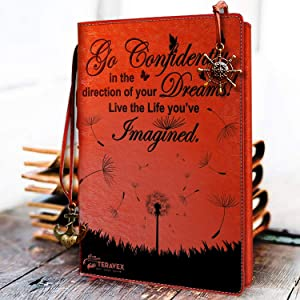 Graduation Gifts - Go Confidently in The Direction of Your Dreams Refillable Writing Journal Leather Cover Notebook Travel Diary Inspirational Gift for Bloggers Teachers Back to College