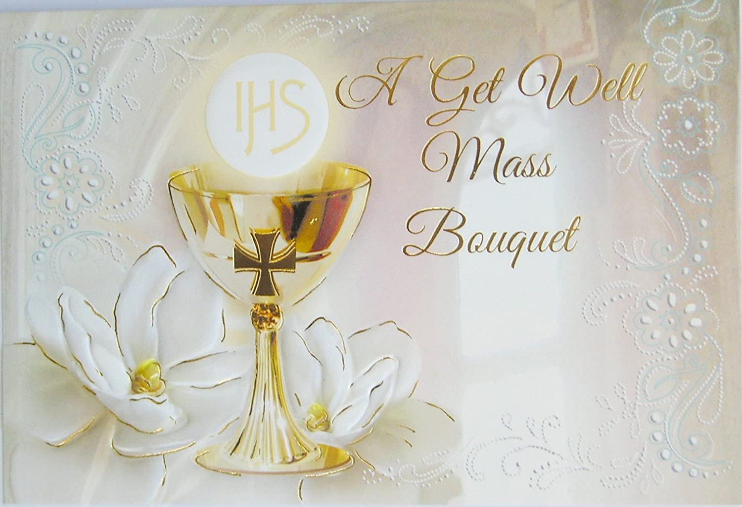 A Get Well Mass Bouquet Card Gold Stamped & Embossed 22359 CBC