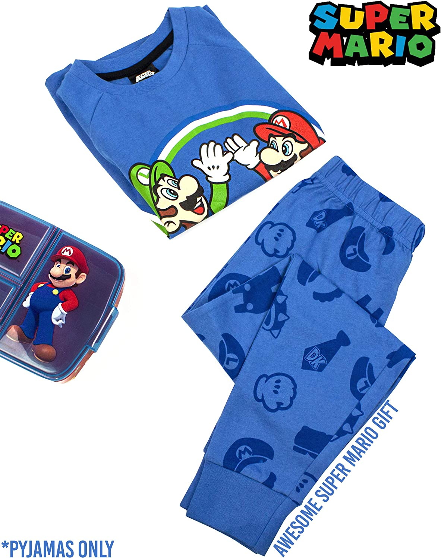 Super Mario Pajamas Luigi Boys Manga Larga Ni/ños Azul Camiseta y pantal/ón PJ Set