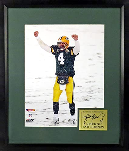 "e4c5db598b4 Green Bay Packers Brett Favre ""Lambeau Snow"" 11x14 Photograph (SGA  Signature Engraved Plate"