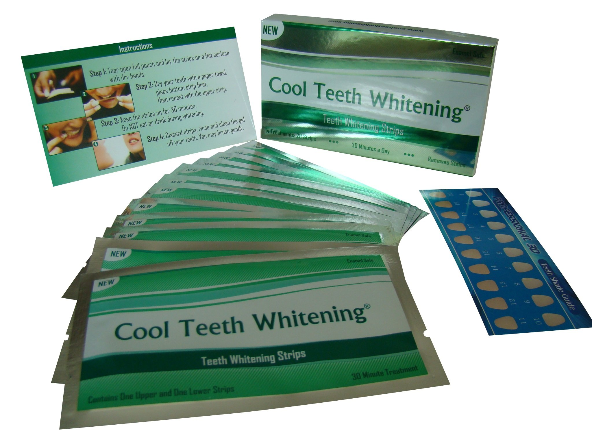 Cool Teeth Whitening® 14 Treatments Advanced Professional 6% Hp Strength Dual Elastic Band Teeth Whitening Gel Strips Kit 28 Pcs - 2 Week Supply + Free Color Chart Guide Included - Hydrogen Peroxide White Tooth By Cool Teeth Whitening®