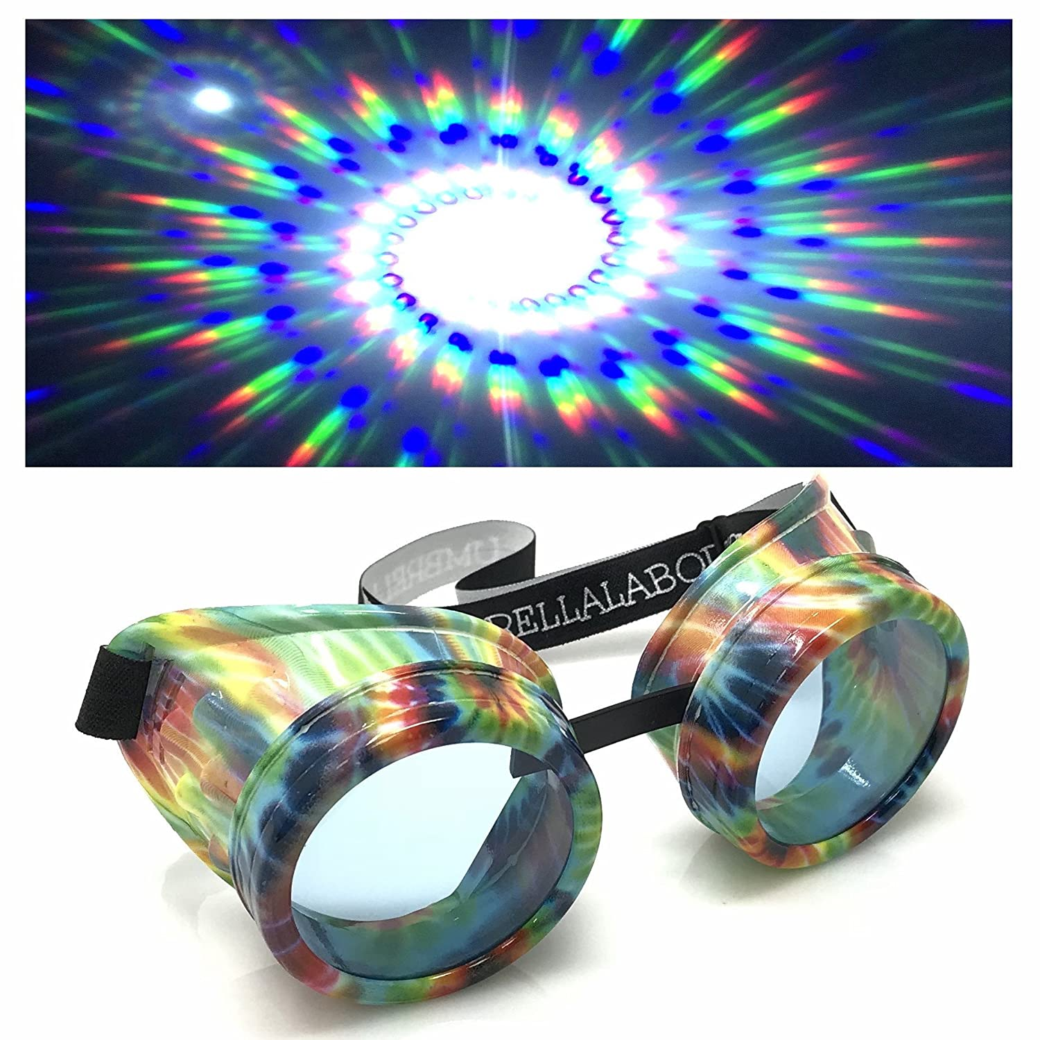 UMBRELLALABORATORY UV Glow in The Dark Steampunk Rave Goggles Spiral Diffraction Retro Round Glasses cc clear spiral diffraction