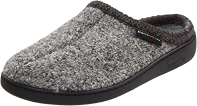 Haflinger Uniat Boiled Wool Hard Sole Slipper Grey Speckle