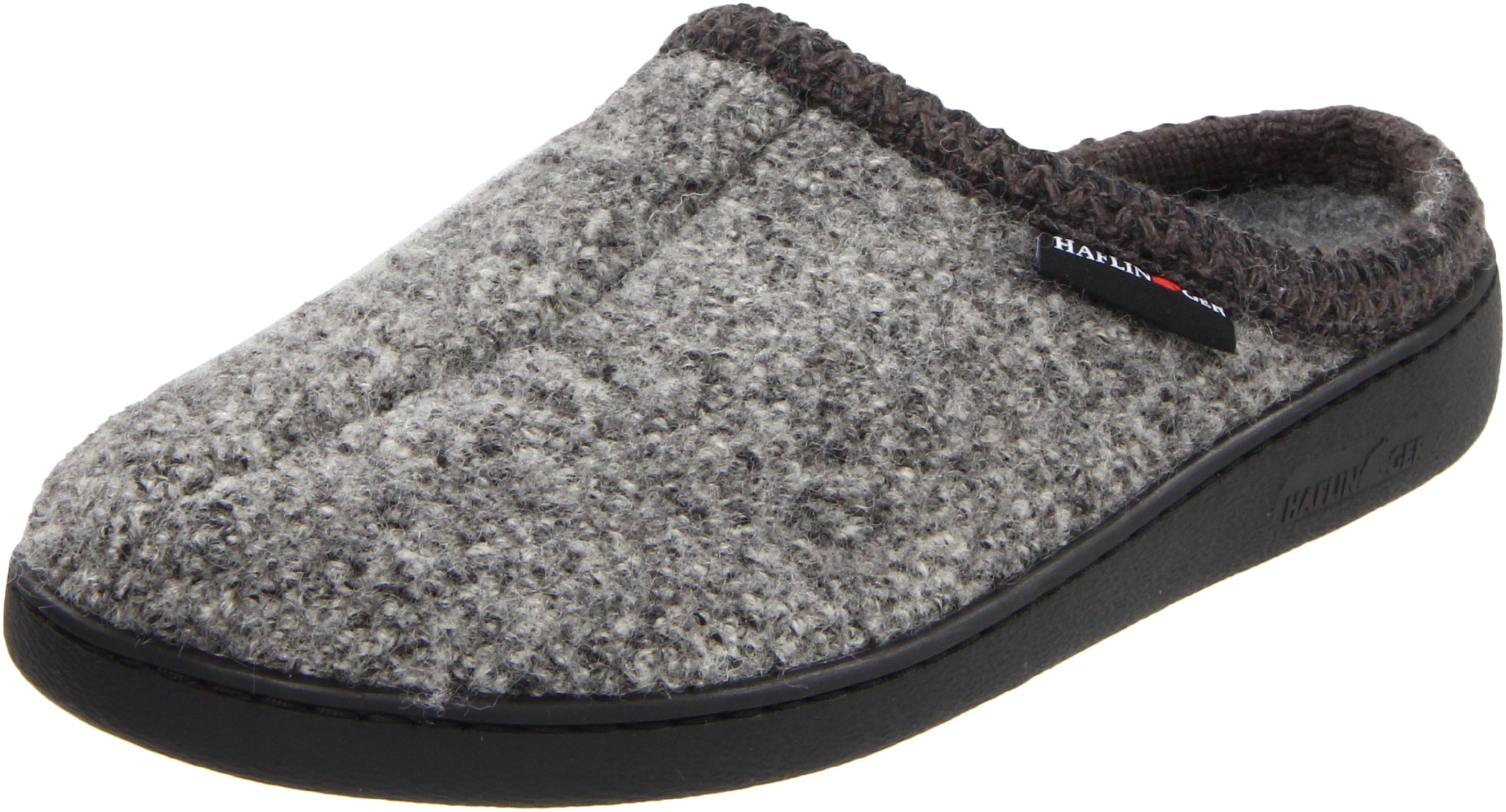 Haflinger Unisex AT Boiled Wool Hard Sole Slipper, Grey Speckle, 43 EU/ 12 M US Women's/10 D US Men
