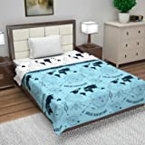 Divine Casa Microfibre Reversible Easyweight AC Single Dohar/Blanket/Duvet (Blue-Geometric)