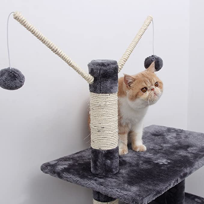 Amazon.com : FEANDREA 134 cm Cat Tree Scratcher with Big Platform cat Houses Horsetail Decorative Balls Grey M PCT35G : Pet Supplies