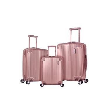 Rockland Hardside Spinner 3-Piece Luggage Set, Champagne / Rose Gold