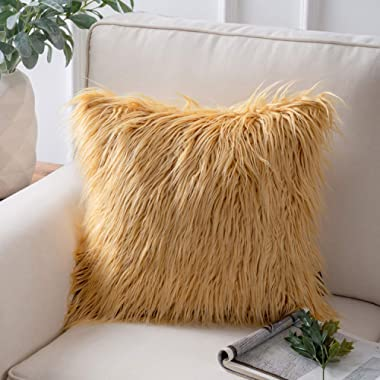 Phantoscope Decorative New Luxury Series Merino Style Ginger Faux Fur Throw Pillow Case Cushion Cover 18 x 18 inches 45cm x 45cm