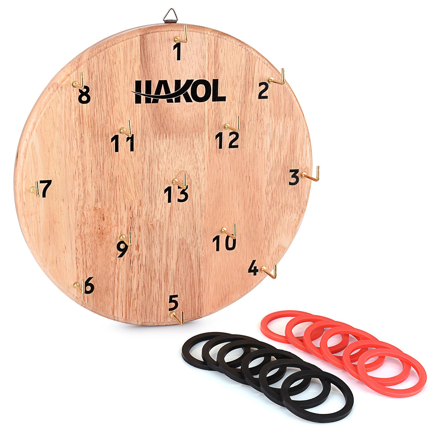 HAKOL Ultimate Hook & Ring Toss Game For Kids & Adults By Fun & Educational Alternative To Throwing Darts | Sturdy Board, Safe & Durable Design | Great For Home Or Office Idea