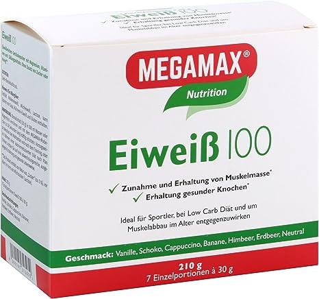 MEGAMAX Eiweiß - Kit para principiantes - Proteínas lácteas y de suero de leche - Crecimiento muscular y dieta - Valor biológico aprox 100-7 x 30g: Amazon.es: Deportes y aire libre
