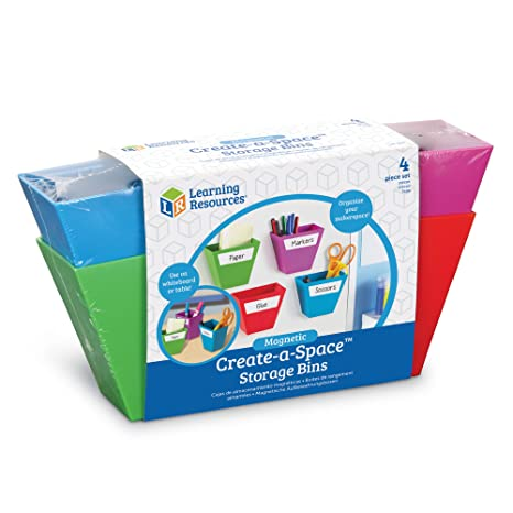 Learning Resources Create A Space Magnetic Storage Boxes, Bright Colors