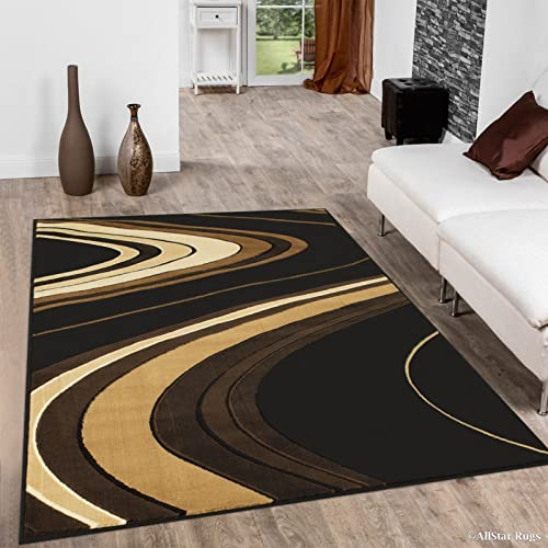 Allstar 4×5 Black Modern and Contemporary Machine Carved Rectangular Accent Rug with Ivory, Mocha and Espresso Wavy Line Design 3 9 x 5 1