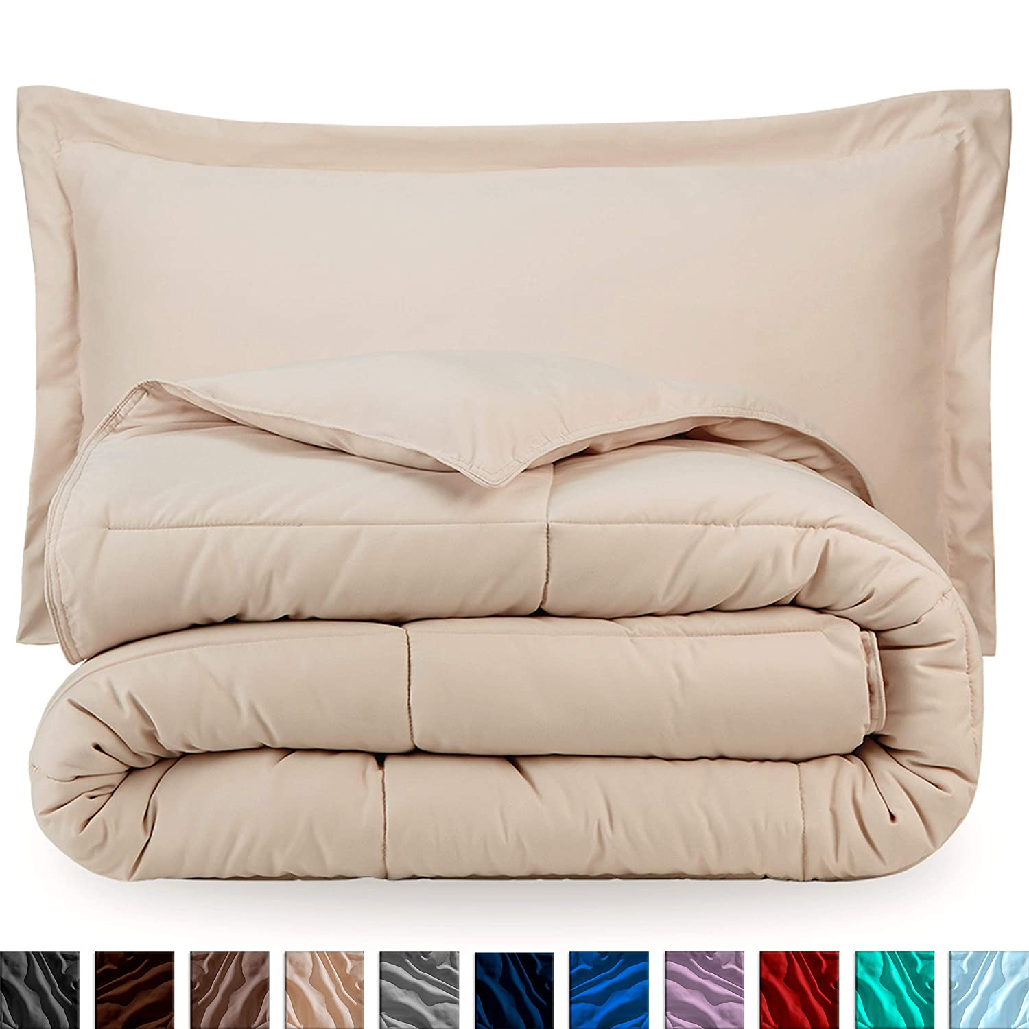 Bare Home Comforter Set - Full/Queen - Goose Down Alternative - Ultra-Soft - Premium 1800 Series - Hypoallergenic - All Season Breathable Warmth (Full/Queen, Sand)