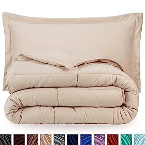 Bare Home Comforter Set - Full/Queen - Goose Down Alternative - Ultra-Soft - Premium 1800 Series - Hypoallergenic - All Season Breathable Warmth (Full/Queen, Sand)