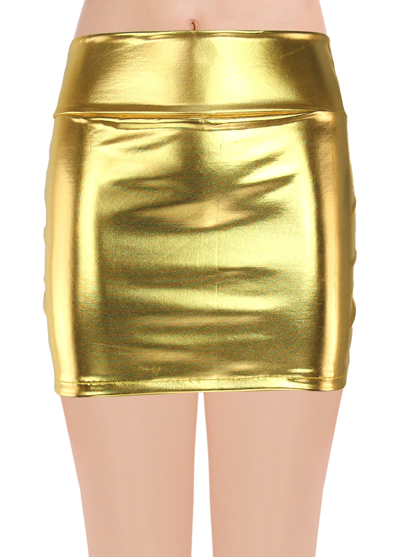 JustinCostume Women's Shiny Metallic Liquid Short Mini Skirt (M, Gold)