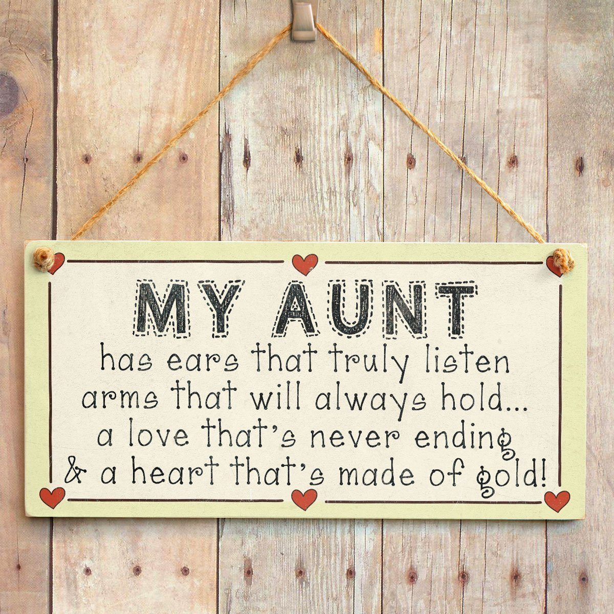 Meaningful Saying Plaque for Special Aunt 10x5 A Love Thats Never Ending and a Heart Thats Made of Gold Meijiafei My Aunt Has Ears That Truly Listen Arms That Will Always Hold