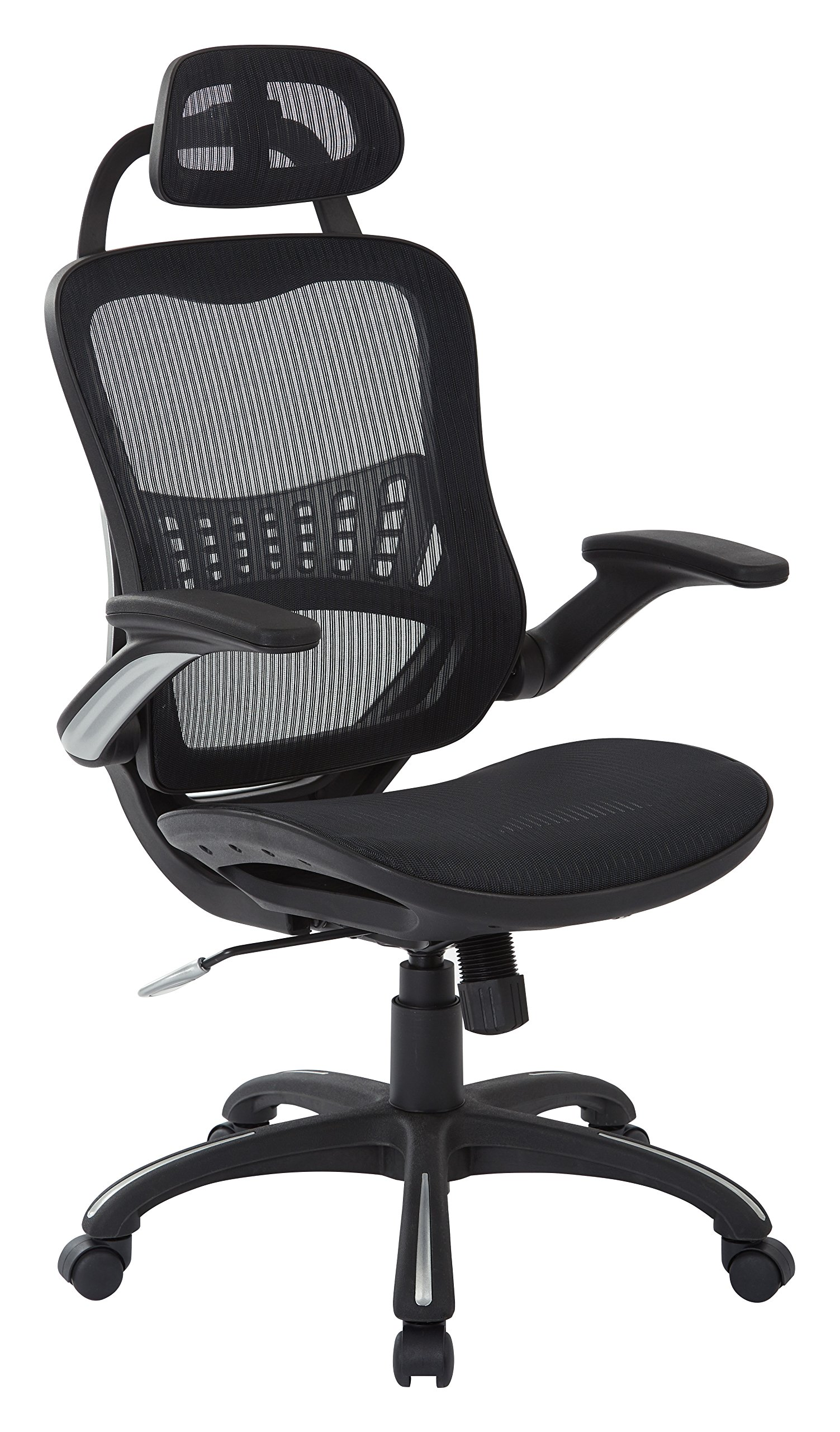 Office Star  Breathable Mesh Seat and Back, 2-to-1 Synchro Tilt Control, Padded Flip Arms, Silver Base and Accents Managers Chair with Headrest, Black. by Office Star