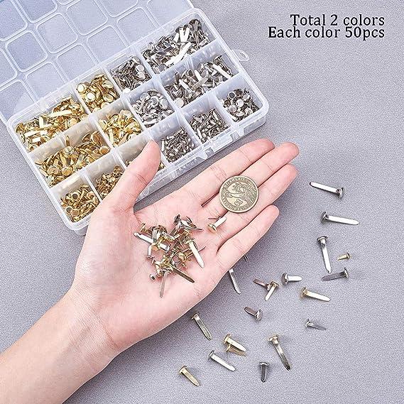 7 Size Mini Brads Fasteners Metal Paper Fasteners Iron Scrapbooking Brads Fasteners for Crafts Making PH PandaHall 700pcs Mini Brads Platinum /& Gold