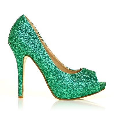 221e2a3170f TIA Green Glitter Stiletto High Heel Platform Peep Toe Shoes Size UK 4 EU 37