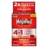MegaRed Advanced 4-in-1 Omega-3 Fish Oil and Krill Oil Dietary Supplement - 70 Softgels