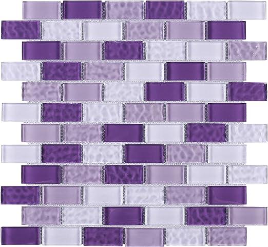 10 Sheets TRCEG-03 1x2 Brick Purple Glass Mosaic Tile Subway Tile Sheet-Kitchen and Bath backsplash Wall Tile