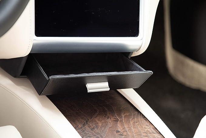 All Black EVHooks.com Tesla Model S /& X Cubby Drawer Premium Alcantara Suede Glasses Box with Vegan Leather Customized Vegan Car Center Console Storage Box