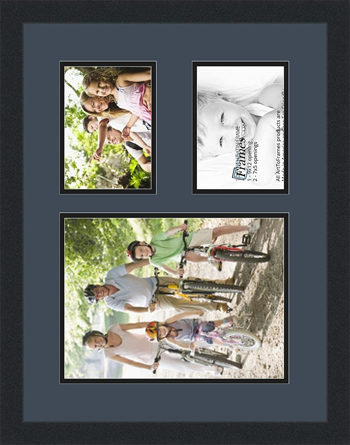Art to Frames Double-Multimat-1648-586//89-FRBW26079 Collage Photo Frame Double Mat with 1-9x12 and 2-5x7 Openings and Satin Black Frame ArtToFrames