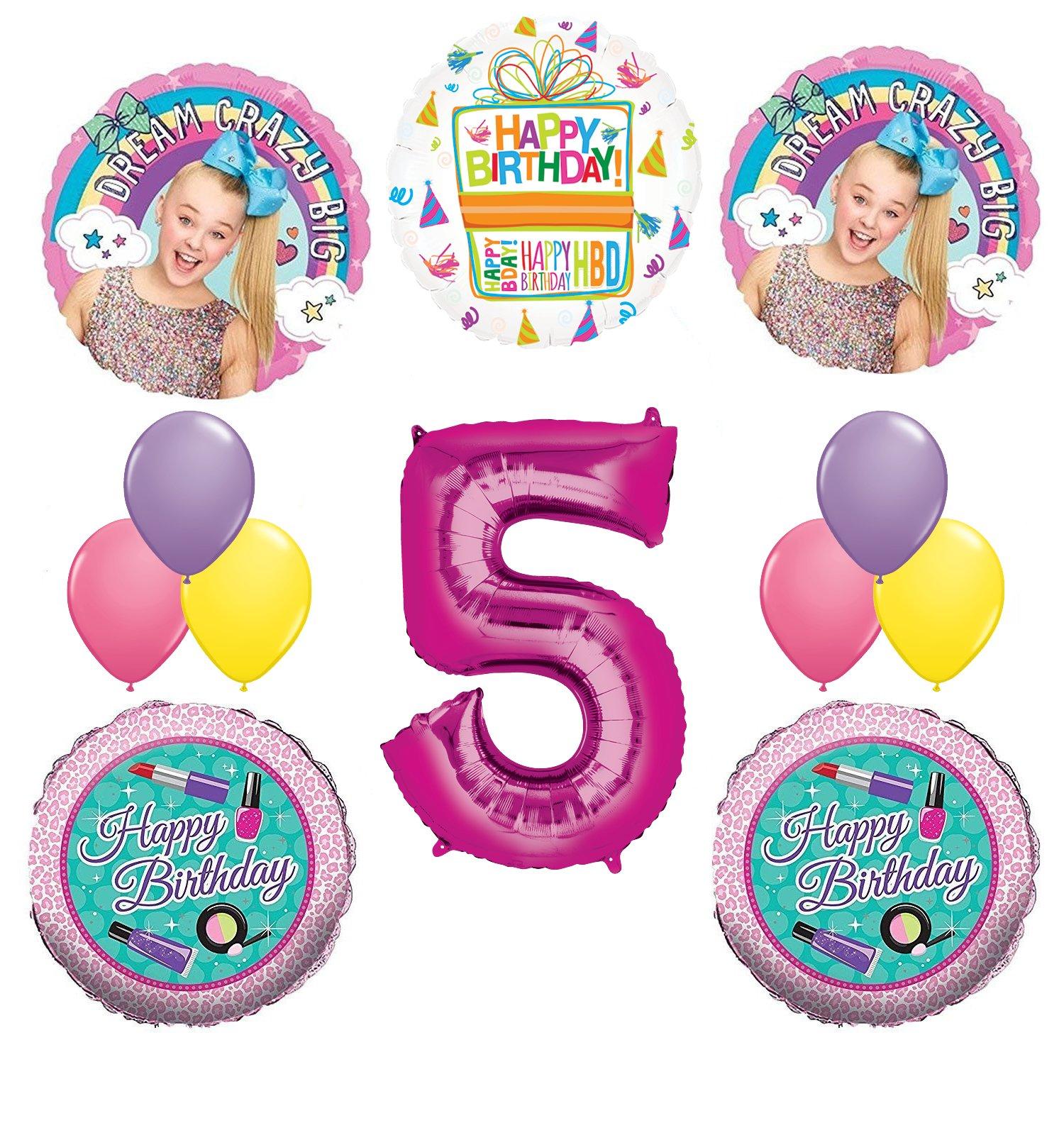 JoJo Siwa Party Supplies Dream Crazy Big 5th Birthday Balloon Bouquet Decorations