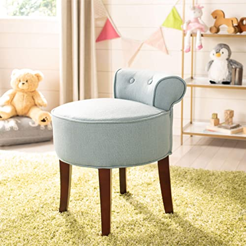Safavieh Home Collection Georgia Silver Blue and Cherry Mahogany Petite Vanity Stool