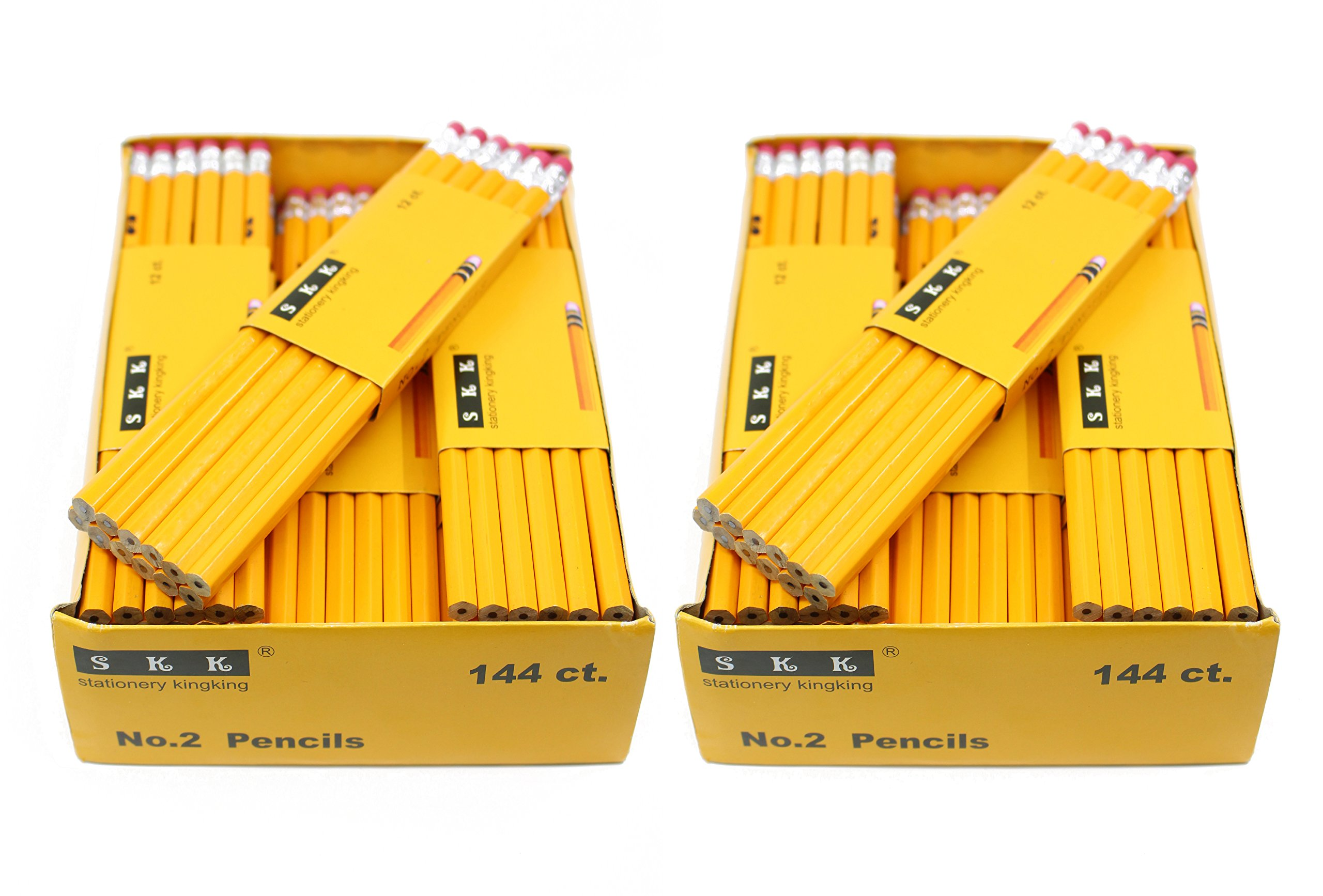 SKKSTATIONERY Pencils, #2 HB, 144/box, Yellow Wood Pencil Great Office Supplies For Writing, Drawing & Sketching, Pack of 2