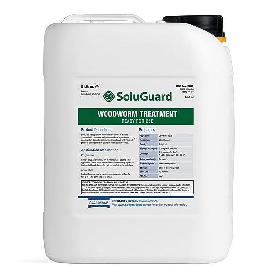 Tratamiento de Woodworm Soluguard 5L - listo para usar alta resistencia Woodworm Killer Spray: Amazon.es: Bricolaje y herramientas