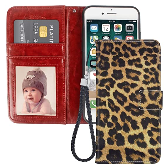 uk availability cfc66 4dc36 JQLOVE Apple iPhone 6/6S Plus Wallet Phone Case, Leopard Print Series PU  Leather Flip Magnetic Clasp Multi-Card Slot Stand Holder Cover Wallet Case  ...