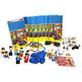 Party Favor Set for Building Brick-Themed Birthday Party, Fun 8-Packs of Bags, Stickers, Wristbands, Balloons, Temporary Tattoos, Mini Figures, BONUS pair of Brick-Style Sunglasses for Birthday Kid
