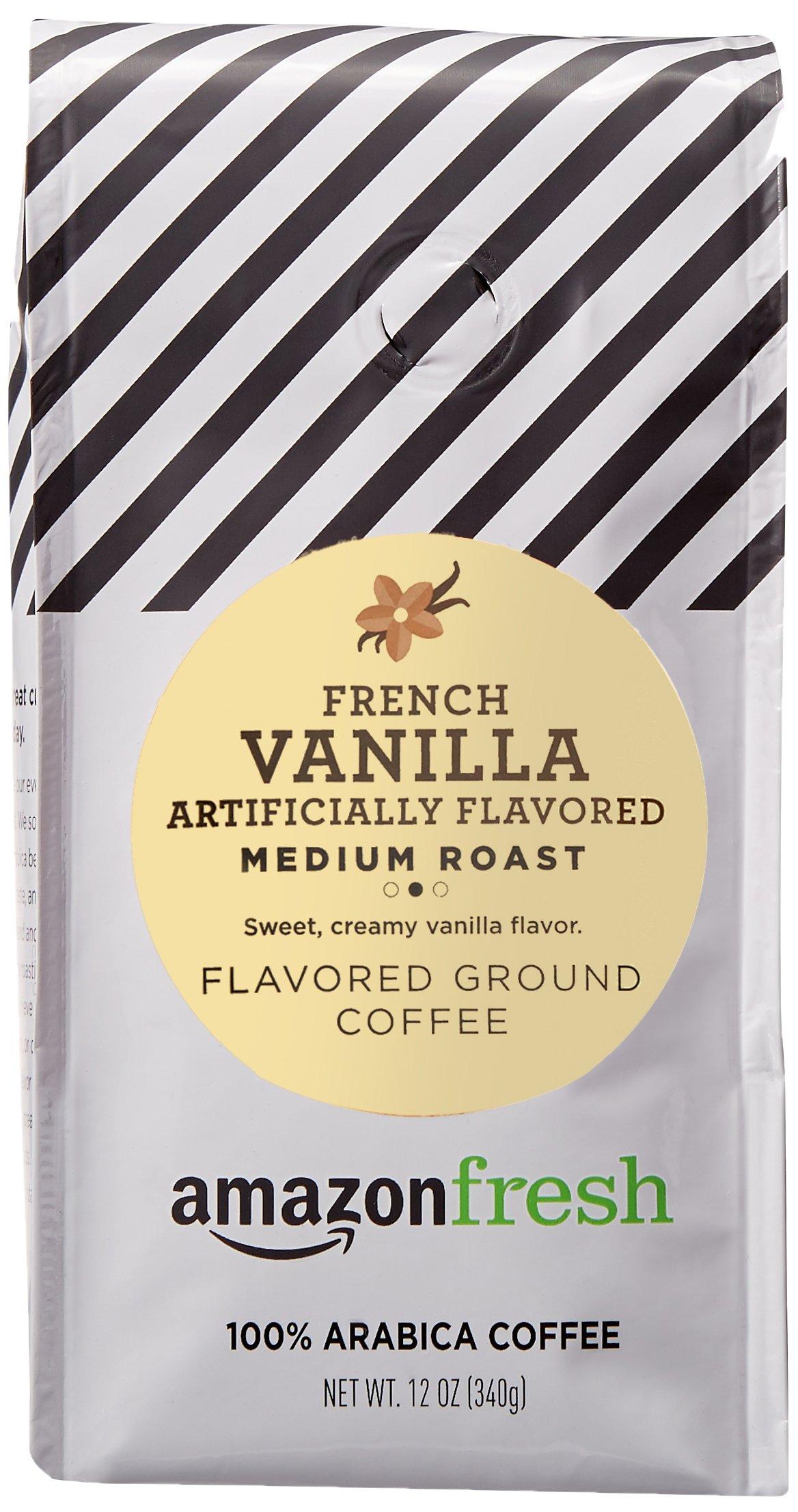 AmazonFresh French Vanilla Flavored Coffee, Ground, Medium Roast, 12 Ounce