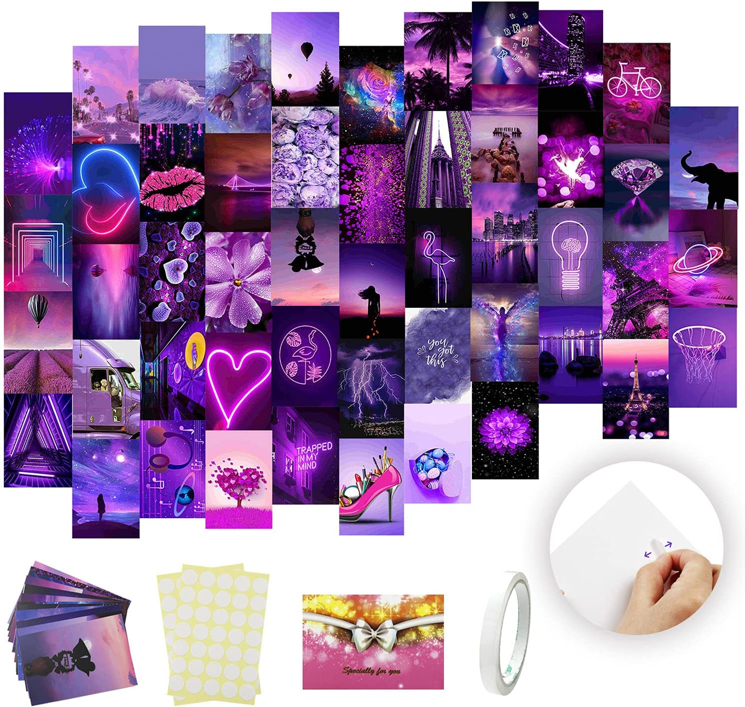 Wall Collage Kit Aesthetic Pictures Purple Photo Collection 50 Set 4x6 inch Aesthetic Posters Collage Kit Wall Images for Teen Girls Bedroom Dorm Wall Art Prints Decor