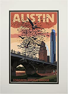 product image for Austin, Texas - Bats and Congress Avenue Bridge (11x14 Double-Matted Art Print, Wall Decor Ready to Frame)
