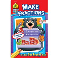 School Zone - Make Fractions Workbook - Ages 6 to 8, 1st Grade, 2nd Grade, Activity Pad, Math, Shapes, Basic Fractions…