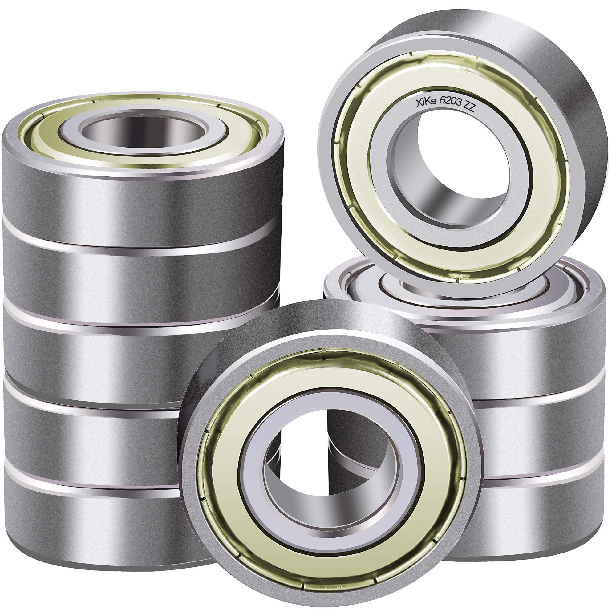 XiKe 10 Pack 6203-2RS Bearings 17x40x12mm Stable Performance and Cost-Effecti...