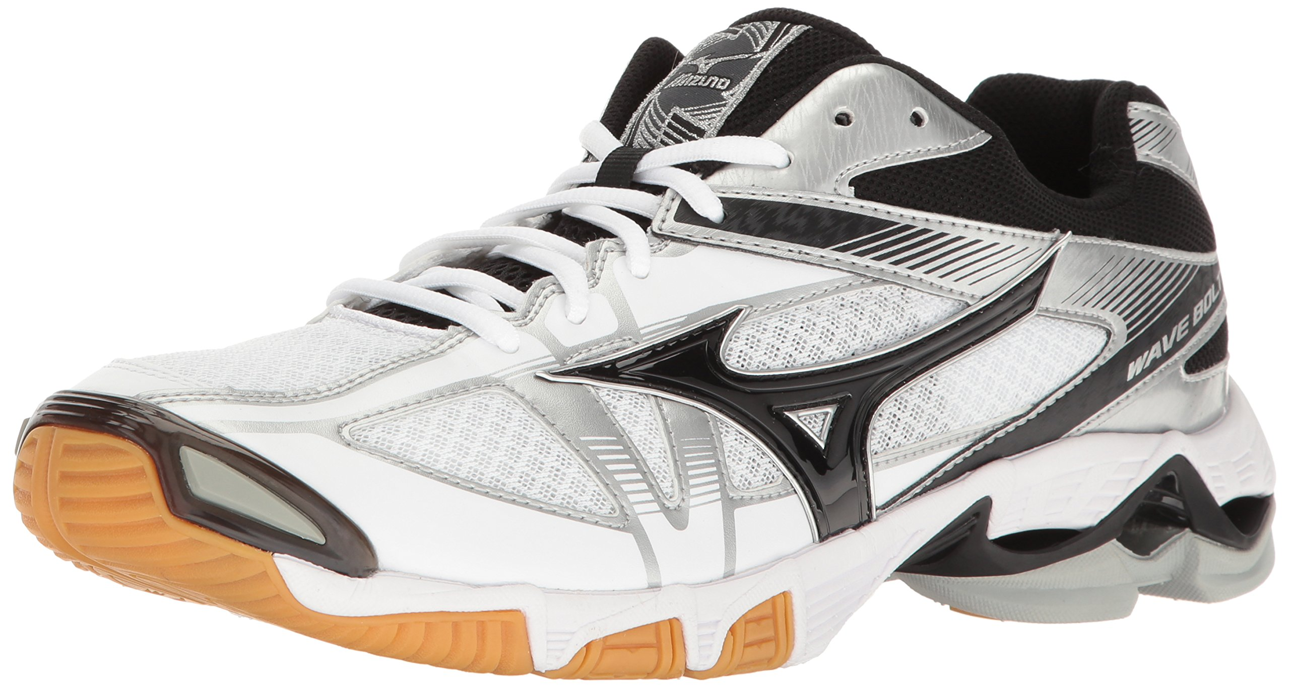 Mizuno Men's Wave Bolt 6 Volleyball Shoe, White/Black, 7 D US