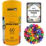 Dual Tip Brush Pens. Great Gift for Girls. Get them off their screens and into creativity. Set of 60 Brush Markers for Bullet Journals, Colouring Books, Highlighting, Note-taking, Calligraphy, Drawing & Art - Fineliner & Brush Tip in One Pen.