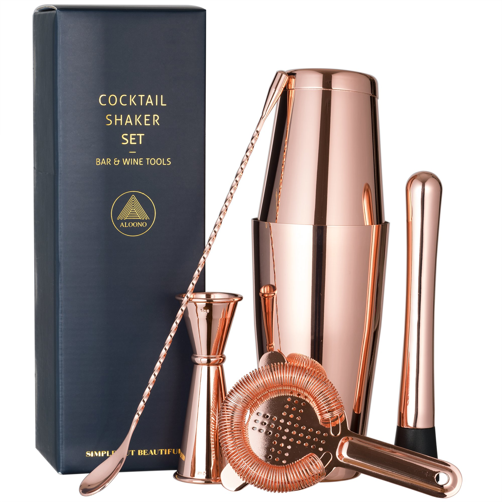Copper Plated Boston Cocktail Shaker Bar Set: 18oz & 28oz Shaker Tins, Hawthorne Cocktail Strainer, Double Jigger (0.5oz - 2oz), 12'' Mixing Spoon, 7'' Drink Muddler w/Recipes and Greeting Card